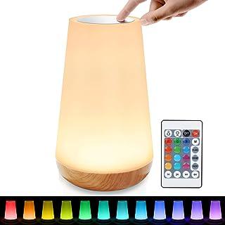 tronisky Luz Nocturna LED, Lámpara de Mesita de Noche de Control Tactil y Remoto, Iluminación de Ambiente, Cambio de 13 Colores, Temporizador, USB Recargable, para Niños, Dormitorio, Cámping