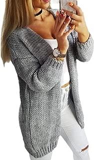 Women Winter Long Sleeve Chunky Knit Soft Sweater Open Front Cardigan Outwear