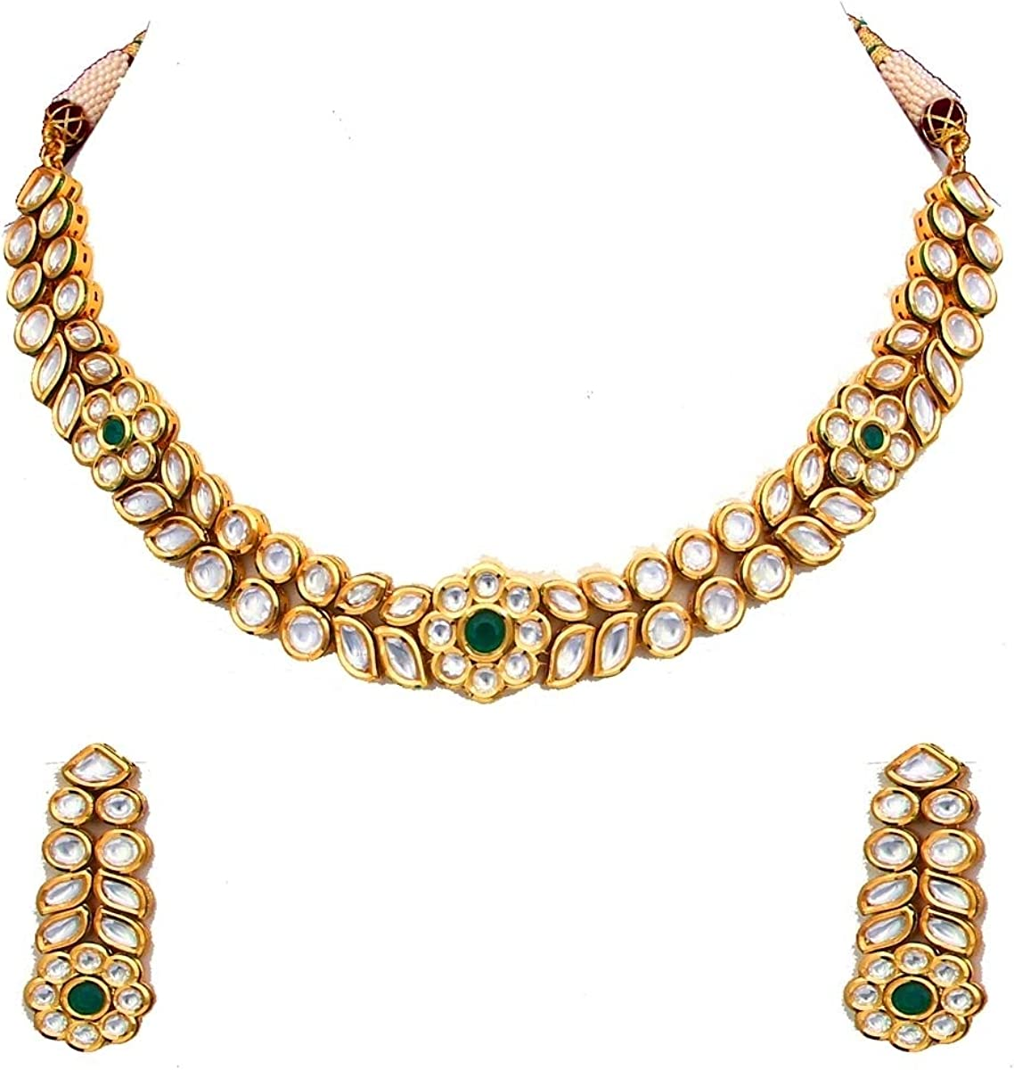 CaratYogi Gorgeous Necklace with Earrings Kundan Embellished 18K Gold Plated Handcrafted Designer Collection Indian Fashion Jewellery Set for Women Girls Ladies