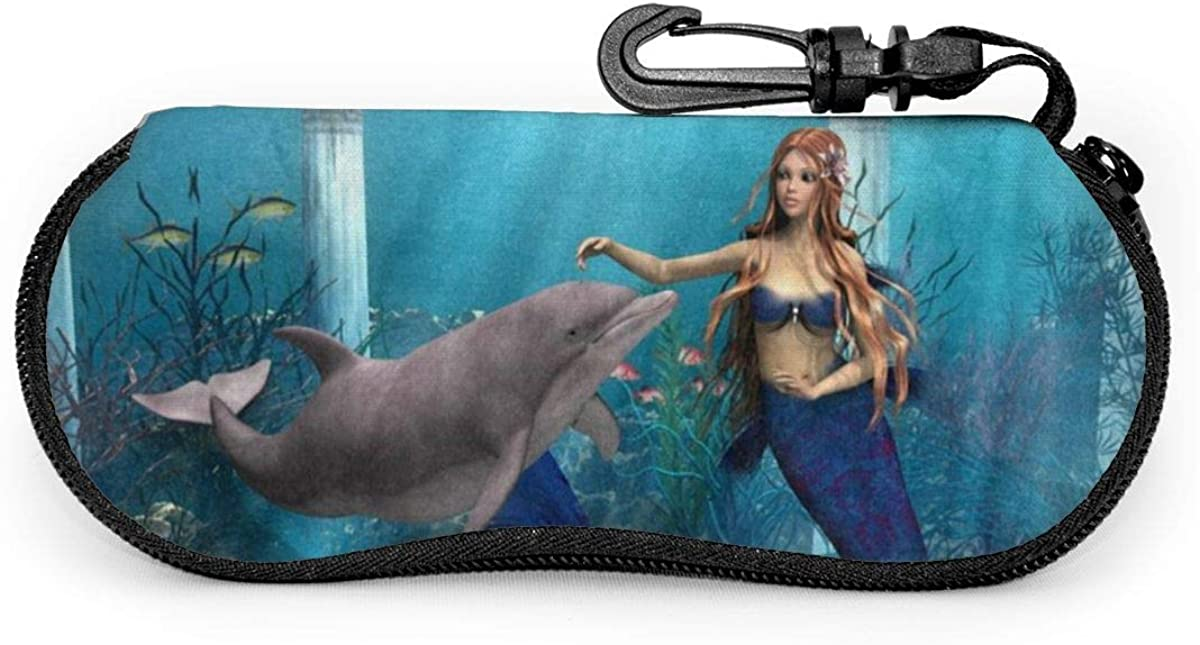 Cute Mermaid Dolphin Sunglasses Soft Case Ultra Light Neoprene Zipper Eyeglass Case With Key Chain