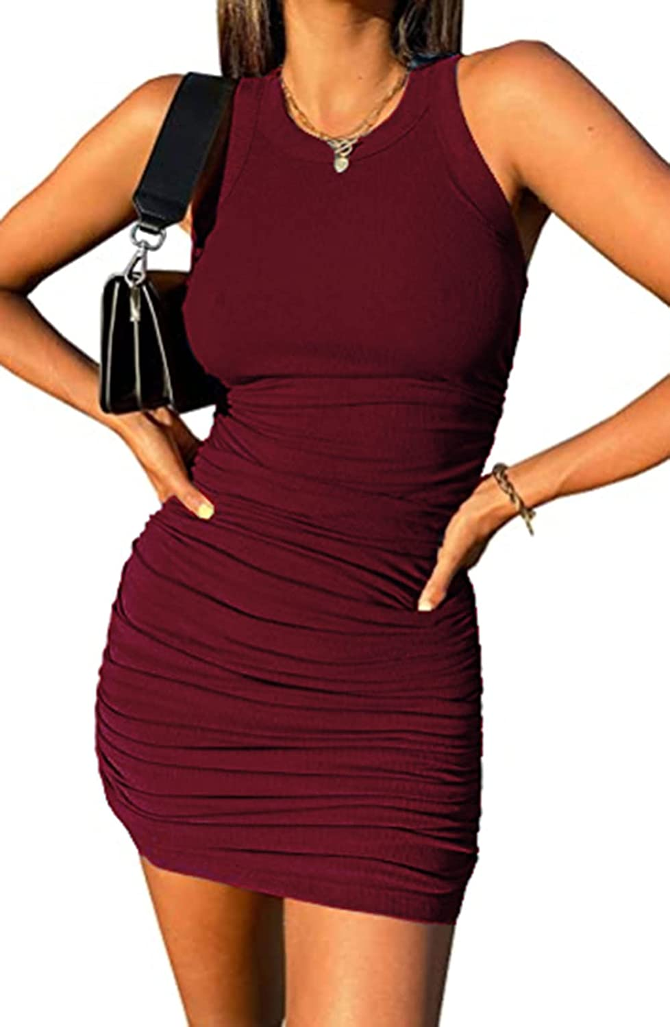 Simasoo Women's Slim Sleeveless Pure Color All-Match Sexy Pleated Party Beach Dress