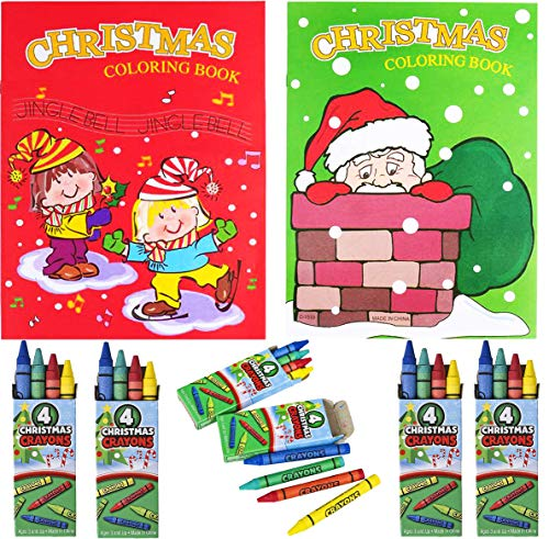 Christmas Coloring Books With Crayons 4 pc (12 of Each) 24 Pc Set for Kids - for Christmas Party Favors, Classroom Prize, Xmas Stocking Stuffers, Party Supplies, Goodie Bag Fillers by 4E's Novelty