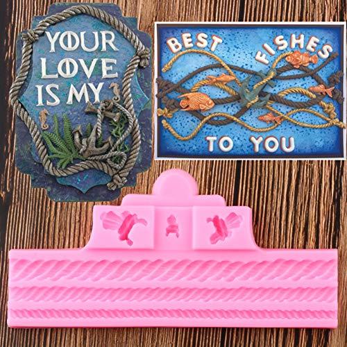 BeiQianE Cuerdas 3D Moldes de Silicona con Borde de Pastel Cupcake Topper Fondant Herramientas de decoración de Pasteles Galletas para Hornear DulcesMoldes deChocolate
