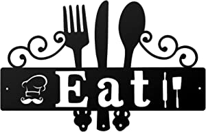 Eat Sign Kitchen Metal Sign Rustic Metal Kitchen Wall Decor Sign Metal Eat Letter Wall Art Country Farmhouse Kitchen Wall Art for Home, Kitchen or Dining Room (15 x 9.4 Inches)