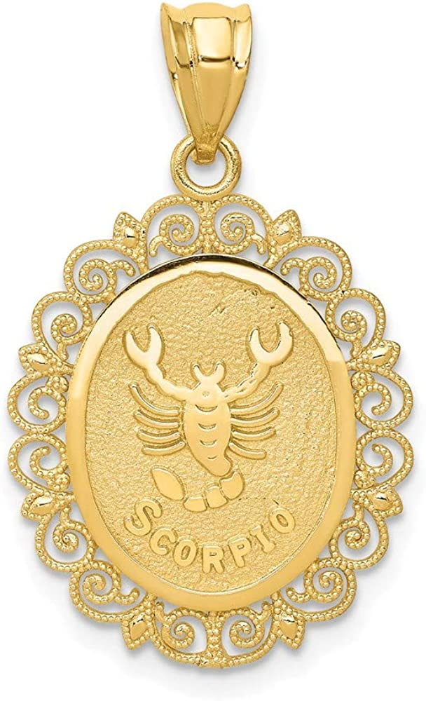 14k Yellow Gold Solid Scorpio Zodiac Oval Pendant Charm Necklace Fine Jewelry For Women Gifts For Her