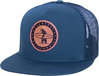 Midway' Snapback Navy Blue Surf Hat - Baseball Style Cap with Vegan Leather Patch