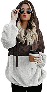 Women's Hooded Sweatshirt Autumn Winter Warm Patchwork Pullover Zipper Pocket SADUORHAPPY Ladies' Blouse Tops T-Shirts