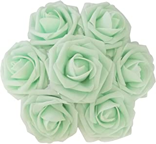 J-Rijzen Jing-Rise Artificial Roses 30pcs Real Touch Mint Green Fake Flowers with Stem for Centerpieces Wedding Floral Arrangements Baby Shower Home Decorations (Mint/Light Green)