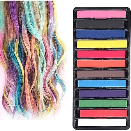 INTVN tiza de pelo color temporal del pelo, no tóxicas,Geniales para disfraces, trajes para representaciones y crear looks modernos,12 plumas de tiza ...