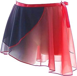 KKmeter Women Gradient Chiffon Ballet Wrap Skirt Asymmetric Dance Skate Over Scarf Tutu Miniskirt