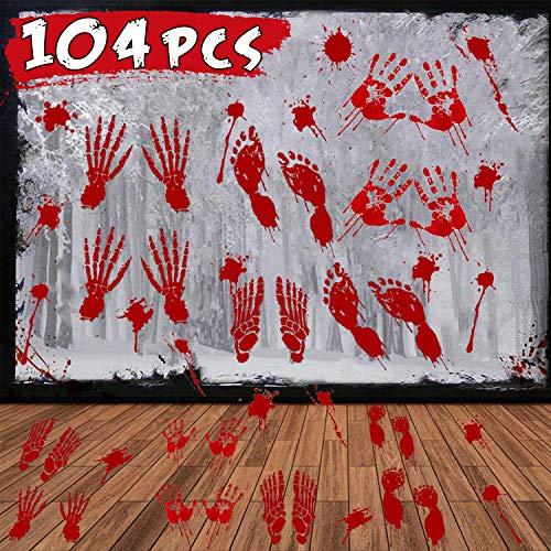 104Pcs Halloween Party Decoration Stickers Halloween Window Decals Horror Bloody Handprints Footprints Floor Stickers…