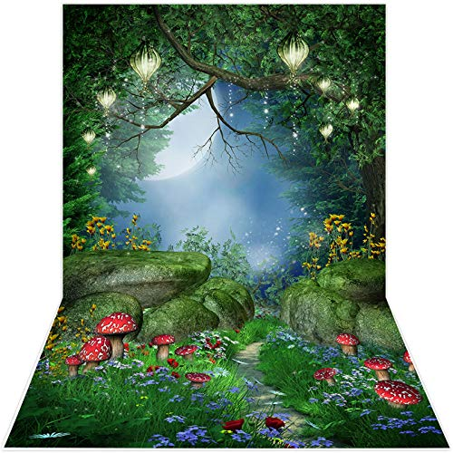 Avezano 1.5*2.1m Sfondo foresta incantata, albero magico fungo fiaba lanterne foto sfondo, fondali foresta primavera per bambini festa di compleanno banner