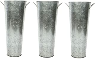 Hosley Set of 3 Galvanized Planters French Buckets with Handles 15 Inch High. Ideal for DIY Craft and Floral Projects Part...