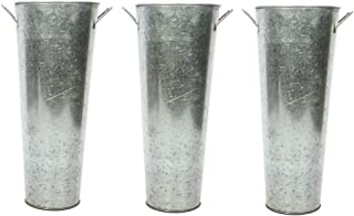 Hosley Set of 3 Galvanized Planters French Buckets with Handles 15 Inch High. Ideal for DIY Craft and Floral Projects Party Favors Festivities Wedding W1