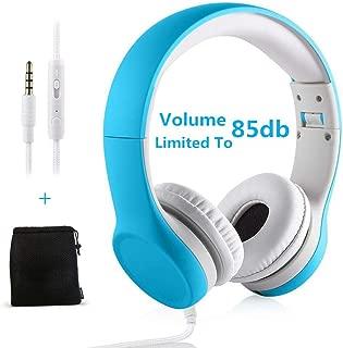 Kids Headphones Volume Limiting Yusonic Ear Foldable Small Kid Headphones Toddlers headsets for School Boys Girls Children ipad Compatible (Light Blue)