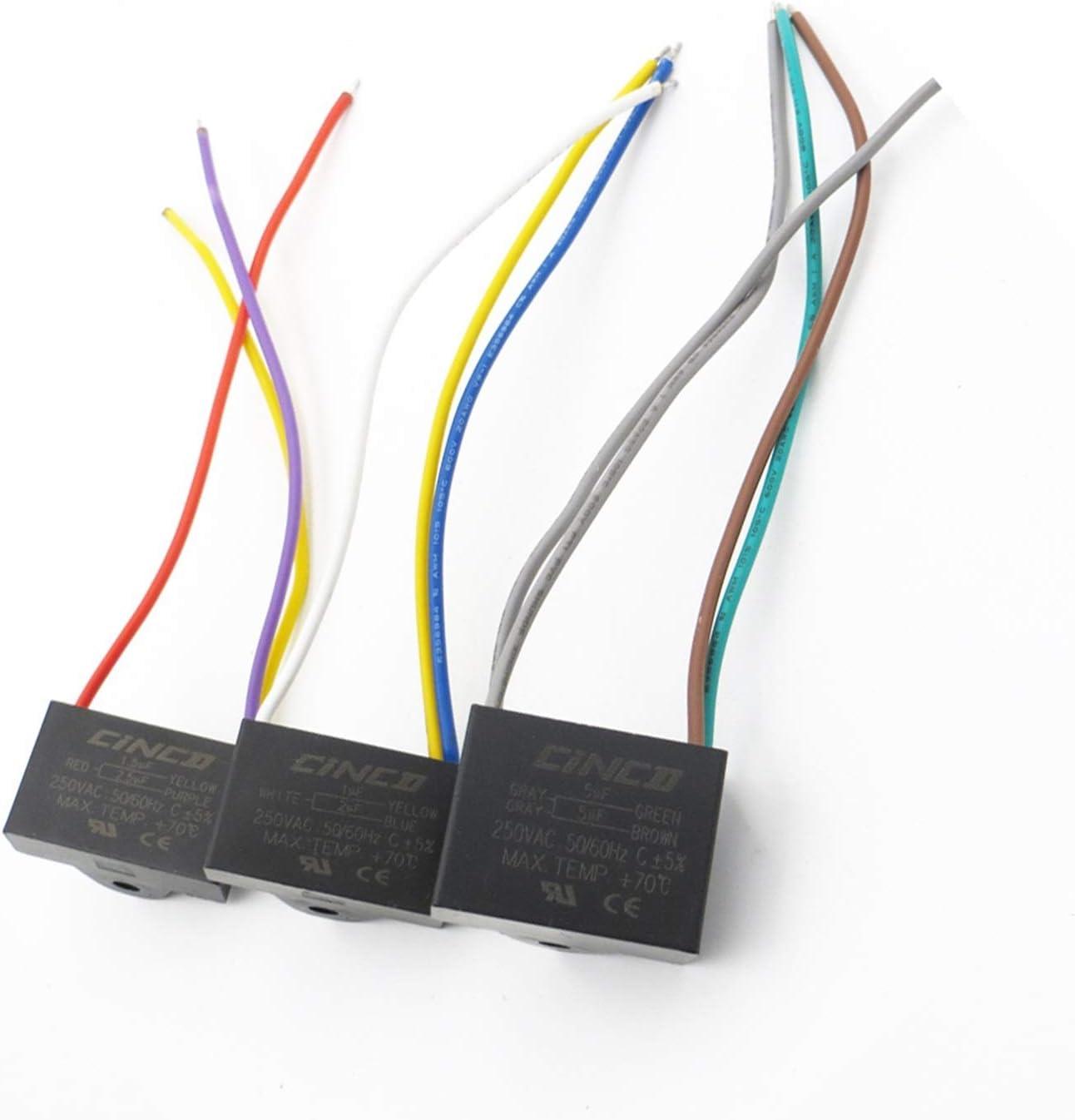 YSJSPKK Condensadores 250VAC CBB61 3/4/5 1 1.2 2 2.3 2.5 3 3.5 4 4.5 5 6 6.5 UF + Cables Capacitador de Funcionamiento del Motor Velocidad del Ventilador eléctrico 250V (Speed : 5 5 5uF)