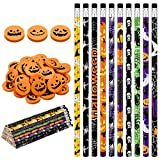 101 Pieces Halloween Pencils Colorful Wood Pencils with Pumpkin Jack-o-lantern Erasers for Halloween Party Favors, Trick or Treat, Halloween Goodies Bags Filler, Game Prizes, Classroom Rewards