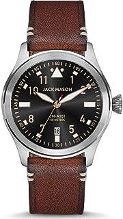 Jack Mason Black Aviator 3-Hand Stainless Steel Watch | Brown Leather