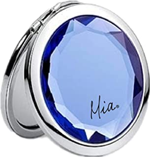 Mia 2x/1x Jeweled Compact Vanity Mirror, Beautiful, Pretty, Shiny Silver Metal With Large Mirrored Rhinestone Attached, For Women, Girls, Gifts, Travel 1pc (blue)
