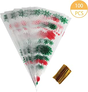 Hapy Shop 100 Pieces Christmas Cone Bags Snowflake Treat Bags Party Favor Bags with 100 Pieces Metallic Twist Ties for Christmas Candy Cookie Storage, 6.4 x 15.2 Inches