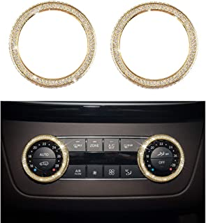 1797 Compatible AC Knobs Caps for Mercedes Benz Accessories Bling Parts Air Conditioner Control Cover Decals Interior Decorations W204 X204 W166 C GLE GLS Class GLK AMG Women Men Crystal Gold 2 Pack