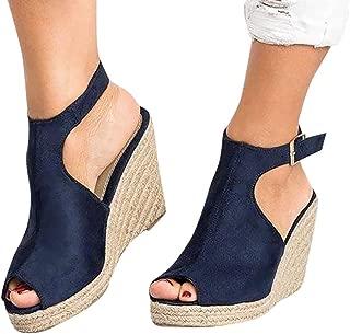 Wedges Sandals,Women's Fish Mouth Espadrilles Slingback Platform Sandals High Heel Ankle Strap Beach Shoes