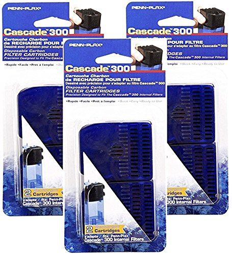 Penn-Plax Cascade 300 Filter with Internal Replacement Cartridge, 6 Total Cartridges (3 Packs with 2 cartridges per Pack)