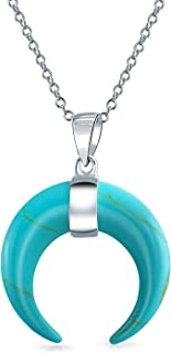 Boho Tribal Fashion Compressed Turquoise Horn Italian Crescent Moon Pendant Necklace For Women For Teen Sterling Silver