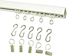 Ceiling Curtain Track Set with Wheeled Carriers, Hooks and Pinch Clips (4'-White)
