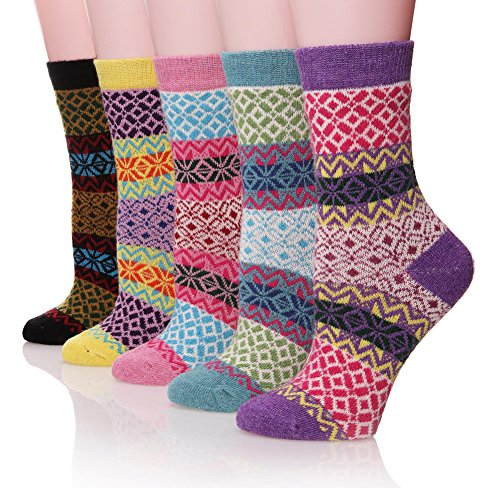 ProEtrade Women Wool Thick Winter Socks 5 Pairs Warm Crew Socks (Snowflake) Snowflake Free