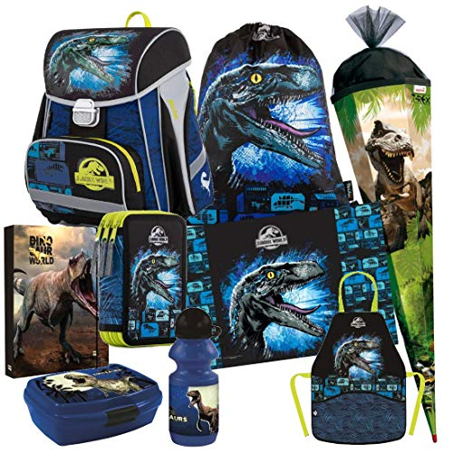 Dinosaurier Dino Jurassic World 9 Teile Set Schulranzen Ranzen Tasche Tornister Schultüte 85 cm Federmappe inklusive Sticker von Kids4shop