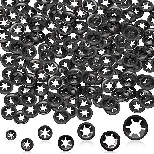 OIIKI 300pcs M3/M4/M5/M6/M8/M10/M12 Internal Tooth Starlock Washers, Push On Speed Clips Fasteners Assortment Kit, 65 Mn Steel Black Oxide Finish Star Lock Washers (7 Sizes)