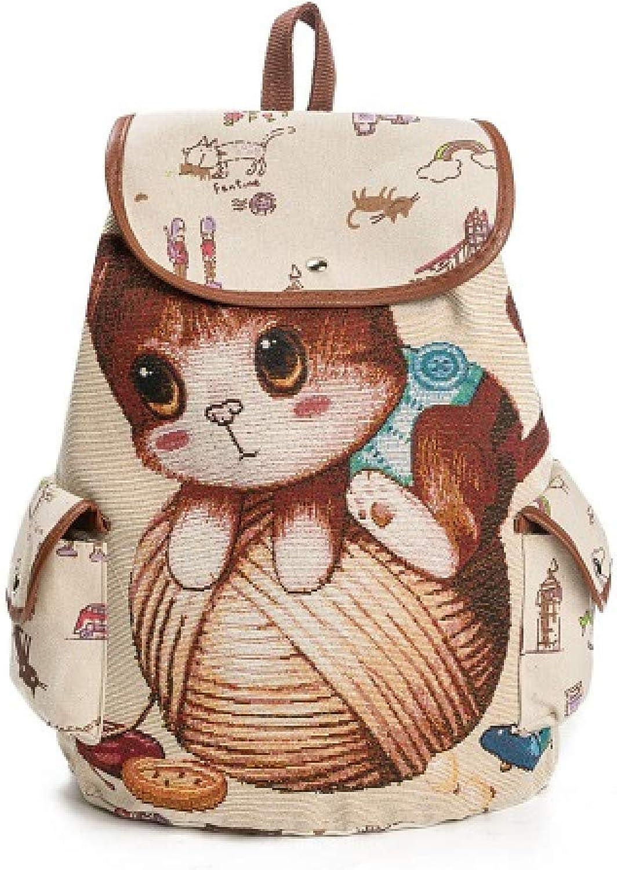 GMYANSJB Cute Cat Backpack Women Canvas Backpack Drawstring Printing Backpacks For Teenage Girls Large Capacity School Bag