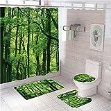 3D Gedruckter Duschvorhang 180x180 cm Gelbgrüner Wald Wasserdicht Antibakterielles Duschvorhang gesetzt Polyester rutschfest Badematte Waschmaschinenfest