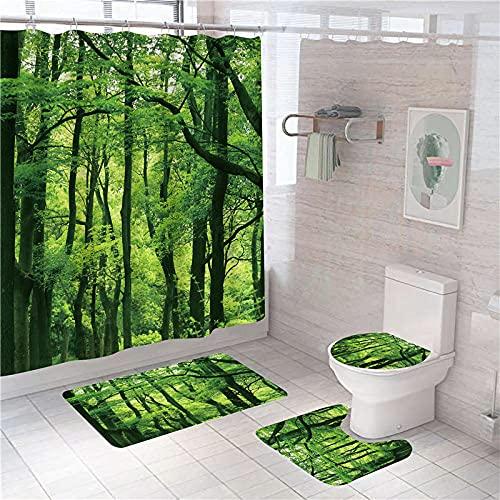 Ensemble de Rideaux de Douche Forêt Jaune-Vert Rideau de Bain Polyester imperméable 180x180 cm avec Tapis antidérapants,Housse de WC et Tapis de Bain