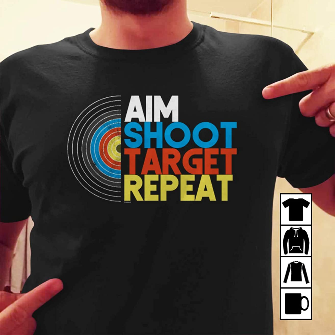 Archer Archery Aim Shoot Target Repeat T Shirt Long Sleeve Sweatshirt Hoodie Youth