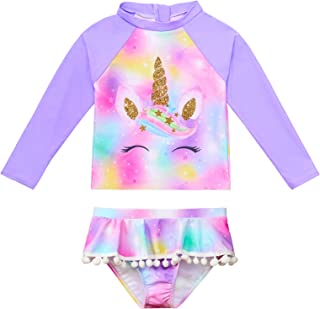 ICOSY Girls Swimsuit Rash Guard Set 2 Piece Bathing Suit for Girls Long Sleeve Swimwear Kid Unicorn Ruffle Swimming Suit