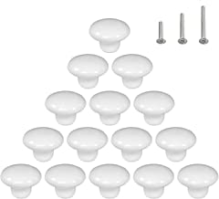 15PCS White Glossy Ceramic Knobs Round Cabinet Dresser Pulls DIY Door Handles Cupboard Wardrobe Drawer, Dia. 1.5 inch
