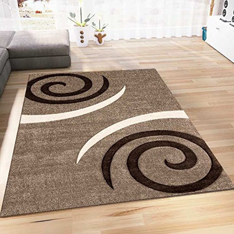 VIMODA Wohnzimmer Teppich Modern Design Beige Beige Beige Braun Kreisel Muster Konturenschnitt Pflegeleicht, Maße 120x170 cm B076KBWXPG 53cc59