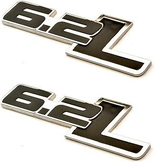 New 2PCS 6.2L Side Rear Emblem For Chevy Camaro SS Trunk Fender Badge Sticker (Black)