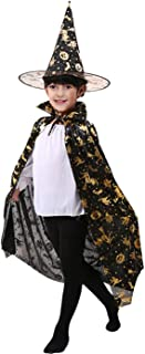 Halloween Costumes Witch Wizard Cloak with Hat Pumpkin Role Play Costume Party Cosplay Cape Set for Kids Children Boys Girls Black