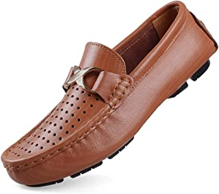 QXA Fashion Leisure Driving Loafers for Men Casual Penny Shoes Slip On Metal Buckle Round Toe Stitch Genuine Leather Perforated Lightweight (Color : Perforated Brown, Size : 50 EU)