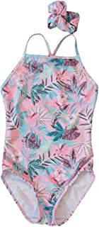 AUHSHO Little Girls One Piece Swimsuits - Quick Dry Beach Swimwear Bathing Suit for Beach 5-12 Years