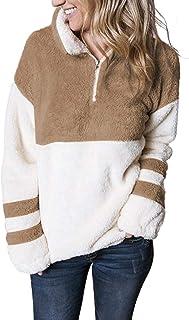 MEROKEETY Women`s Long Sleeve Contrast Color Zipper Sherpa Pile Pullover Tops Fleece with Pocket