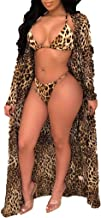 Women 3Piece Leopard Print Bikini Set,Spaghetti Straps Bra+Long Sleeve Cover Up Bathing Swimsuit