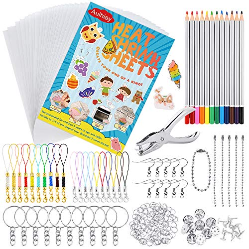 Auihiay 198 Pieces Shrink Plastic Kit Include 20 Sheets Shrinky Art Paper, Hole Punch, Keychains Accessories and Pencils for DIY Ornaments or Creative Craft