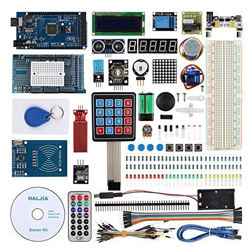 Haljia Project Ultimate starter kit per Arduino UNO R3MEGA2560Nano robot con MEGA2560Board, temperatura, umidità, sensore di frequenza cardiaca, RFID, livello dell' acqua, LCD1602, relè, ad ultrasuoni.