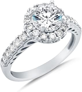 Solid 14k White Gold Cirque Halo Round Brilliant Cut Solitaire with Round Side Stones CZ Cubic Zirconia Engagement Ring 1.75ct.