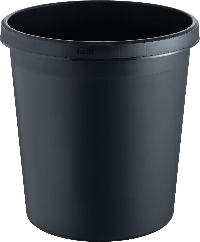 lot de 6 hauteur 320 mm noir Collecteur de d/échets Collecteur de papier Corbeille Corbeille /à d/échets Corbeille /à papier lot 6 pces capacit/é 18 l helit Corbeille /à papier en plastique