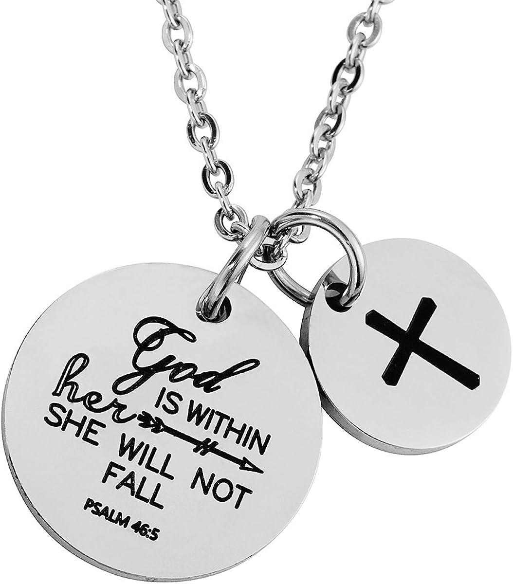 omodofo Christian Super beauty product restock quality top! Necklace cheap Bible Verse Char Pendant Prayer Cross